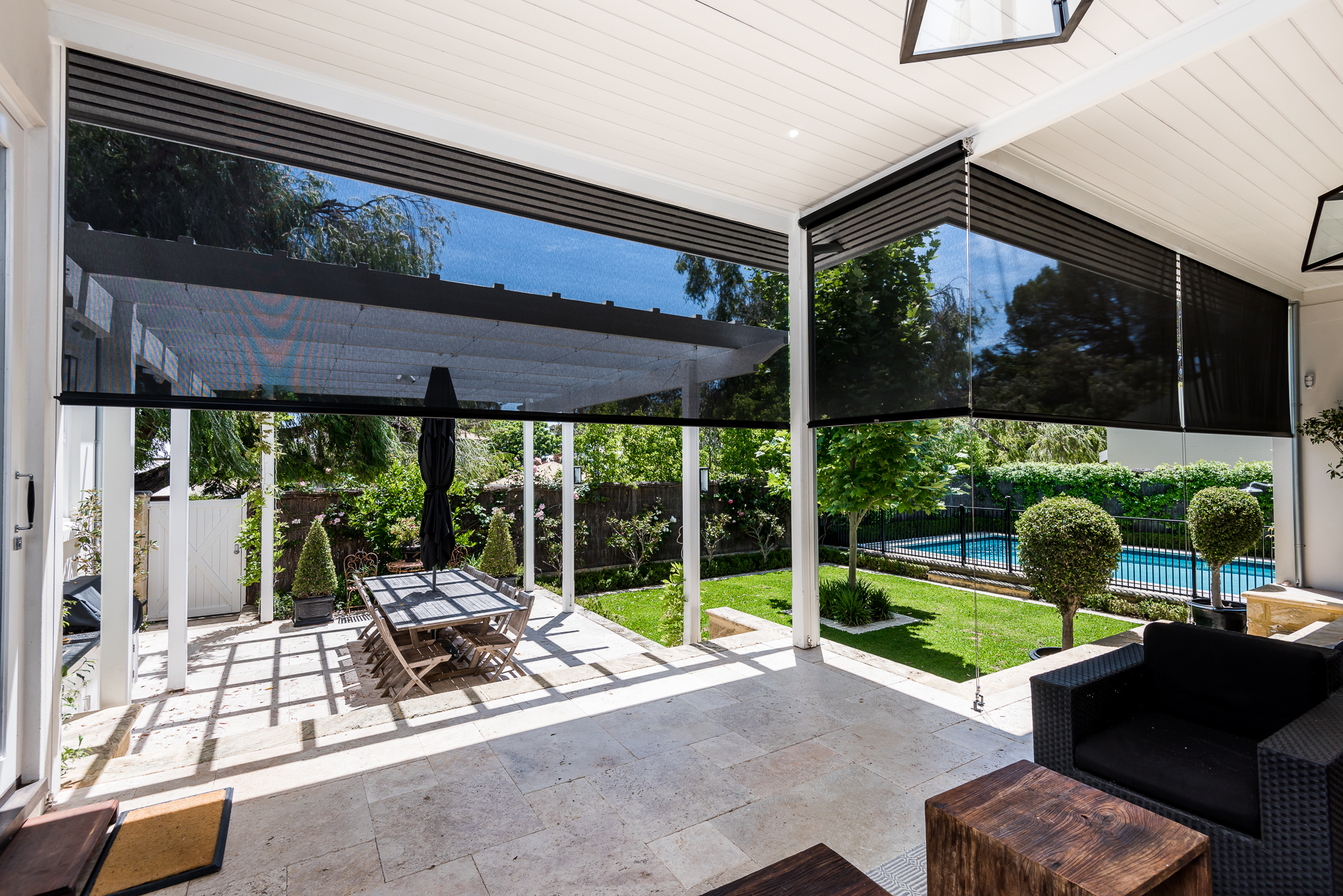 page patented home guided banner ziptrak track patio features blinds innovative outdoor for